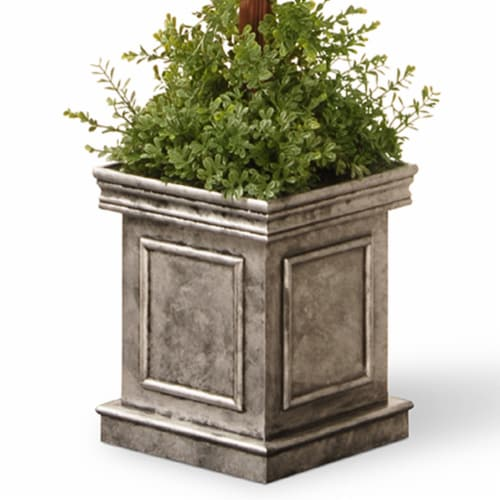 National Tree Company 60 Inch Double Ball Topiary Artificial Plant w/ Gray Pot Perspective: back