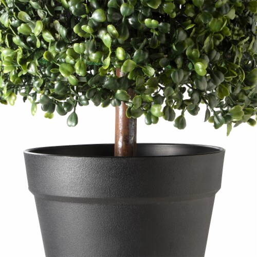 National Tree Company 36 Inch Boxwood Column Topiary Artificial Tree with Pot Perspective: back