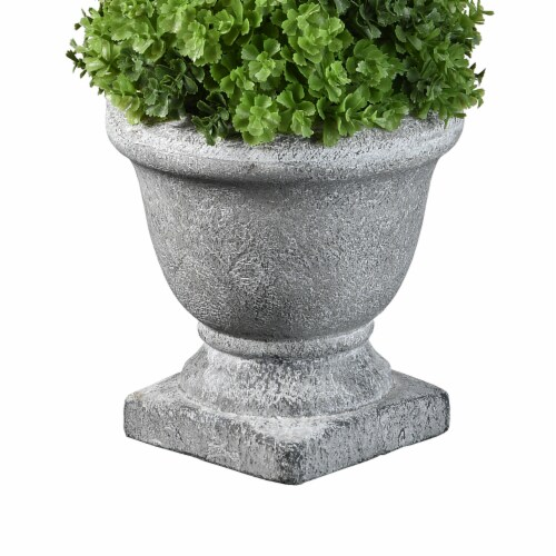 National Tree Company 12 Inch Cone Topiary Artificial Plant w/ Gray Ceramic Pot Perspective: back