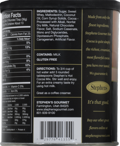 Stephen's Gourmet Milk Chocolate Hot Cocoa Mix Perspective: back