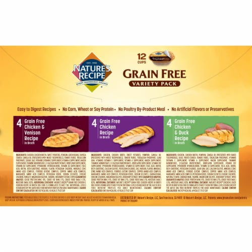 Nature's Recipe Grain Free Variety Pack Dog Food 12 Count Perspective: back