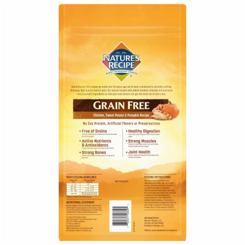 Nature's Recipe Grain Free Chicken Sweet Potato & Pumpkin Dry Dog Food Perspective: back