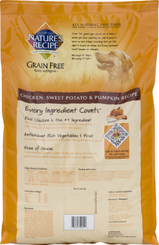 Nature's Recipe Grain Free Chicken Sweet Potato & Pumpkin Dry Dog Food Perspective: back