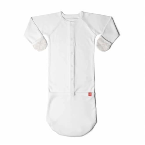 Goumikids Baby Sleeper Gown Organic Bamboo Sleepsack Pajama Clothes, 3-6M Cream Perspective: back