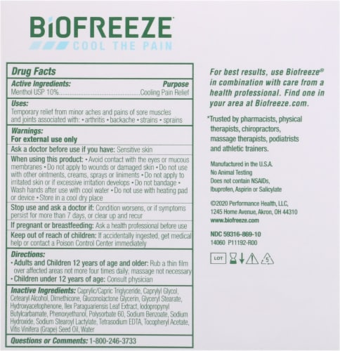 Biofreeze Pain Relieving Cream Perspective: back