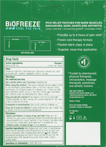 Biofreeze® Extra Large Pain Relief Patches Perspective: back