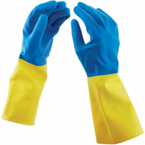 Soft Scrub Latex Cleaning Gloves M Blue 1 pair - Case Of: 1; Each Pack Qty: 2; Total Items Perspective: back