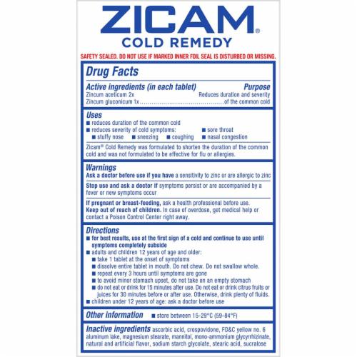 Zicam Cold Remedy Citrus Flavor RapidMelts Quick Dissolve Tablets Perspective: back
