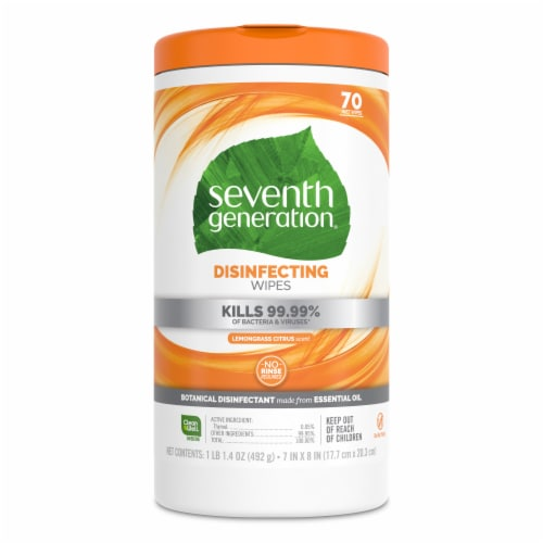 Seventh Generation® Lemongrass Citrus Scent Disinfecting Wipes Perspective: back