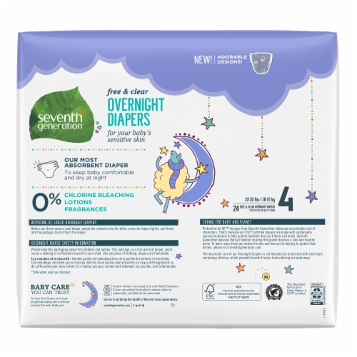 Seventh Generation Free & Clear Overnight Stage 4 Diapers Perspective: back