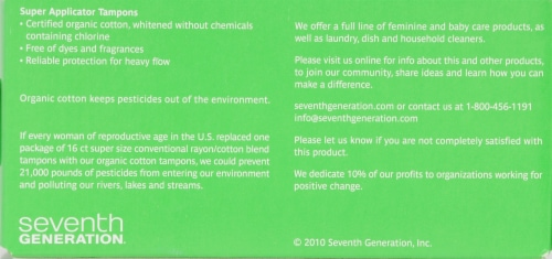 Seventh Generation Free & Clear Super Tampons Perspective: back