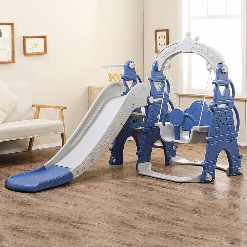 TR LAYNE Indoor/Outdoor Kids 4 Function Slide, Baby Swing & Basketball Hoop Combo. Perspective: back