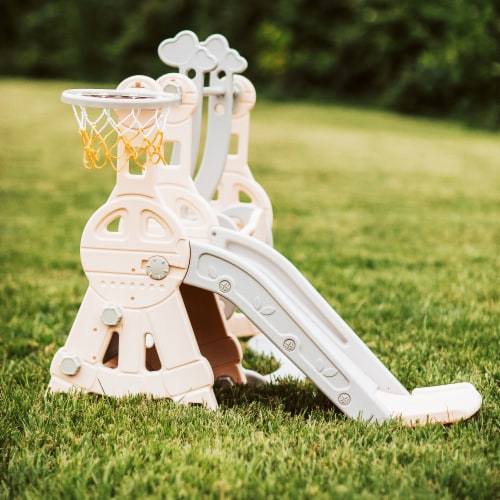 TR Layne Safe and Fun Toddler Slide/Swing & Basketball Combo Outdoor & Indoor Slide Perspective: back