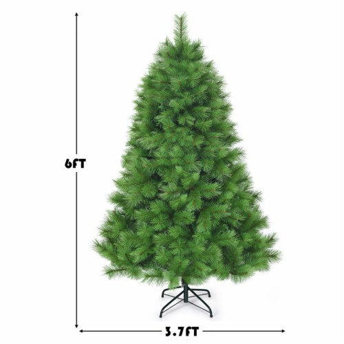 Costway 6 ft Hinged Artificial Christmas Tree Holiday Decoration w/ Foldable Metal Stand Perspective: back