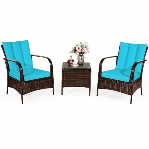 Costway 3 PCS Patio Wicker Rattan Furniture Set Coffee Table & 2 Rattan Chair W/Cushions-Turq Perspective: back