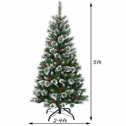 Costway 5 ft Snow Flocked Artificial Christmas Hinged Tree w/ Pine Needles & Red Berries Perspective: back