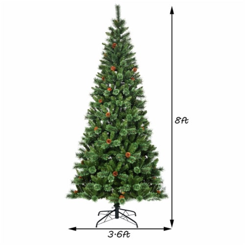 Costway 8 ft Premium Hinged Artificial Christmas Tree Mixed Pine Needles w/ Pine Cones Perspective: back
