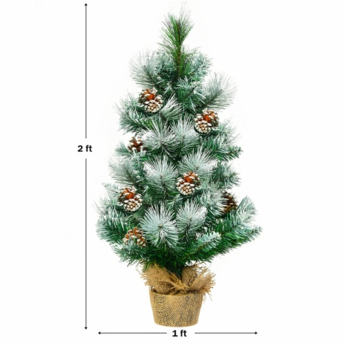 Costway 24'' Snow Flocked Artificial Christmas Tree Tabletop w/Pine Cones and Burlap Base Perspective: back