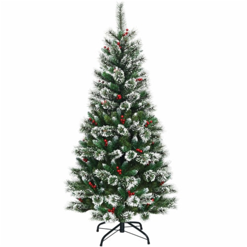 Costway 6 ft Snow Flocked Artificial Christmas Hinged Tree w/ Pine Needles & Red Berries Perspective: back