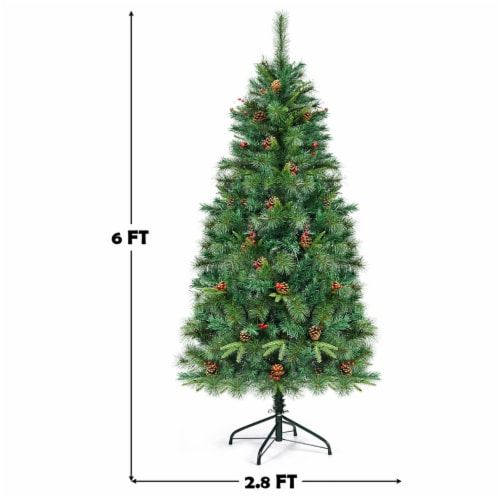 Costway 6Ft Pre-lit Hinged PE Artificial Christmas Tree w/ 250 LED Lights & Pine Cones Perspective: back