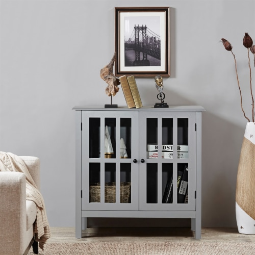 Costway Storage Buffet Cabinet Glass Door Sideboard Console Table Server Gray Perspective: back
