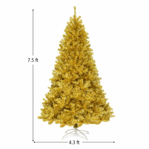 Costway 7.5ft Artificial Tinsel Christmas Tree w/1258 Tips Foldable Stand Champagne Gold Perspective: back