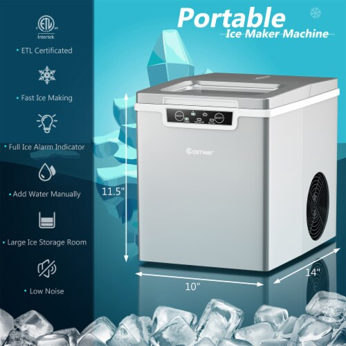 Costway Ice Maker Machine Countertop 26Lbs/24H Portable W/Scoop & Basket Silver Perspective: back