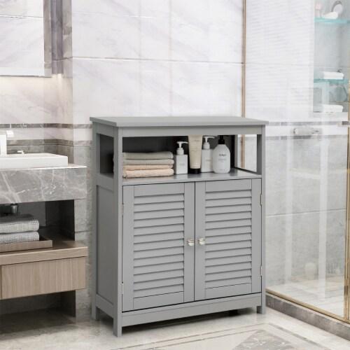 Costway Bathroom Storage Cabinet Wood Floor Cabinet w/ Double Shutter Door Gray Perspective: back