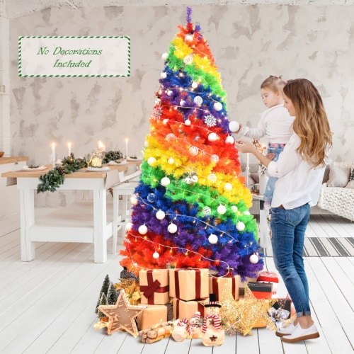 Costway 7FT Artificial Hinged Colorful Rainbow Full Fir Christmas Tree with 1213 Tips Perspective: back