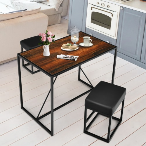 Costway 3pcs Dining Set Metal Frame Kitchen Table and 2 Stools Home Breakfast Perspective: back