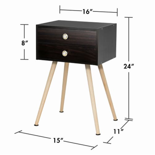Costway Mid Century Modern 2 Drawers Nightstand Sofa Side Table End Table Espresso Perspective: back