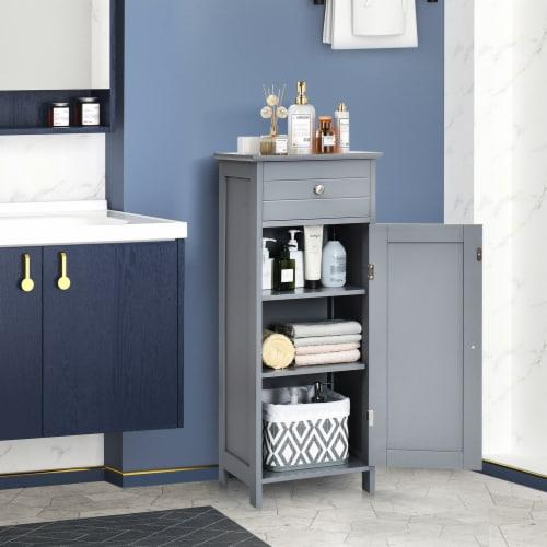 Costway Bathroom Floor Cabinet Storage Organizer Free-Standing w/ Drawer Grey Perspective: back