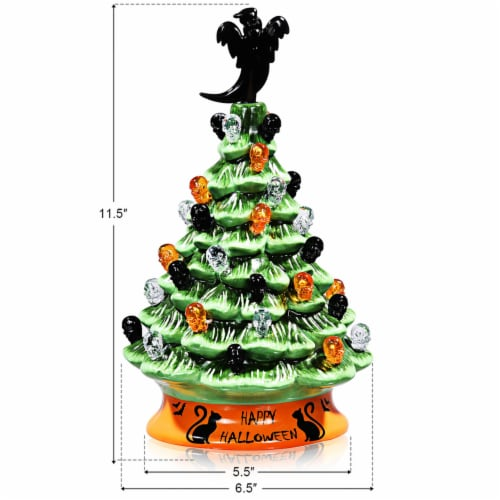 Costway 11.5'' Pre-Lit Ceramic Hand-Painted Tabletop Halloween Tree Battery Powered Green Perspective: back