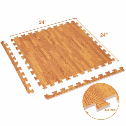 Costway 12PC Wood Grain Interlocking Floor Mats 3/8 Inch Printed Foam Tiles 24 x 24 Inch Perspective: back