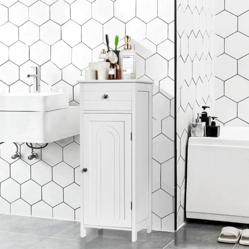 Costway Bathroom Floor Cabinet Wooden Storage Organizer Free-Standing w/ Drawer & Shelf Perspective: back
