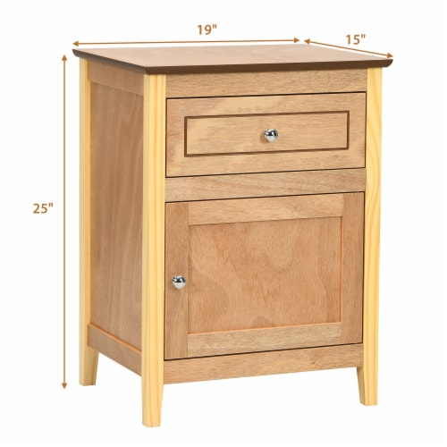Costway Nightstand with Drawer Accent Side End Table Storage Cabinet Natural Perspective: back