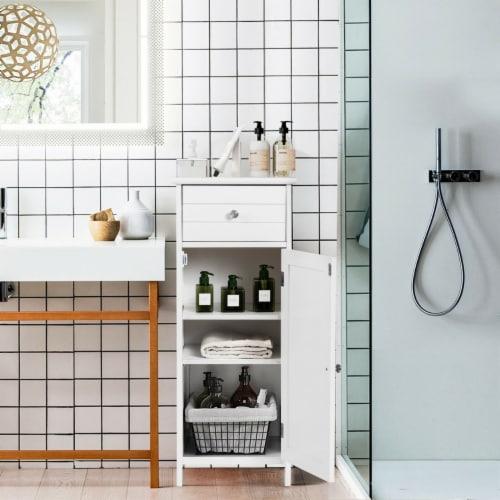 Costway Wooden Bathroom Floor Storage Cabinet Organizer with Drawer and Adjustable Shelf Perspective: back