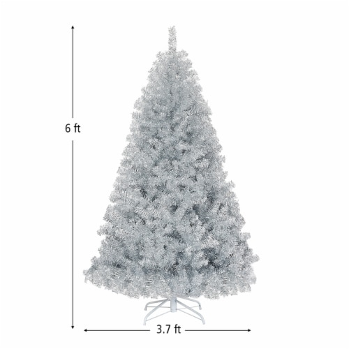 Costway 6Ft Hinged Unlit Artificial Silver Tinsel Christmas Tree Holiday w/Metal Stand Perspective: back