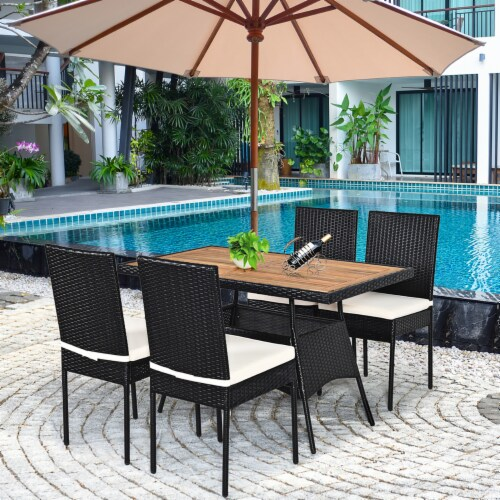 Costway 5 PCS Patio Rattan Furniture Set Wood Top Table Cushioned Chairs Garden Yard Deck Perspective: back