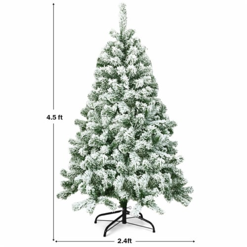 Costway 4.5FT Snow Flocked Artificial Christmas Tree Hinged w/400 Tips and Foldable Base Perspective: back