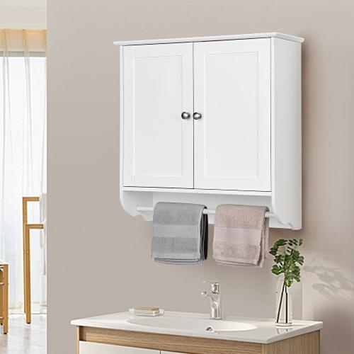 Costway Wall Mounted Bathroom Medicine Cabinet Storage Cupboard w/ Towel Bar Perspective: back