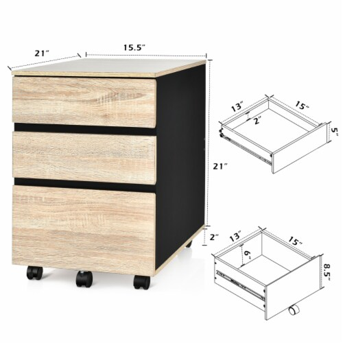 Costway 3-Drawer Mobile File Cabinet Vertical Filling Cabinet for Home Office Perspective: back