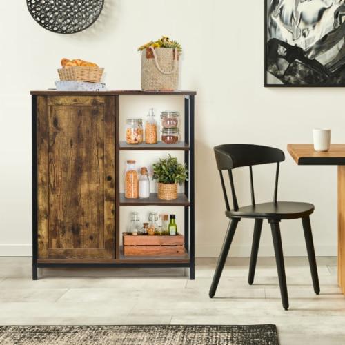 Costway Storage Cabinet Multipurpose Freestanding Cupboard w/3 Open Shelf & Door Perspective: back