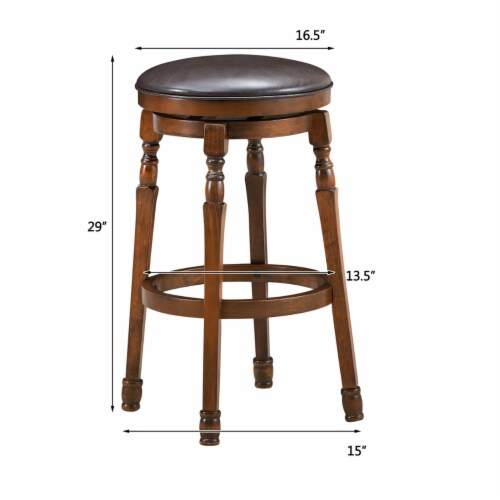 Costway Set of 2 29'' Swivel Bar Stool Leather Padded Dining Kitchen Pub Chair Backless Perspective: back