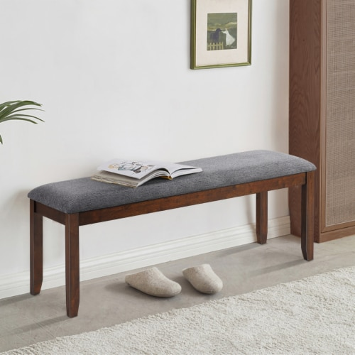 Costway Dining Bench Upholstered Entryway Bench Footstool Kitchen w/ Wood Legs Perspective: back