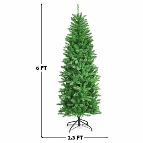 Costway 6Ft Pre-lit Artificial Pencil Christmas Tree Hinged Fir PVC Tree /250 LED Lights Perspective: back
