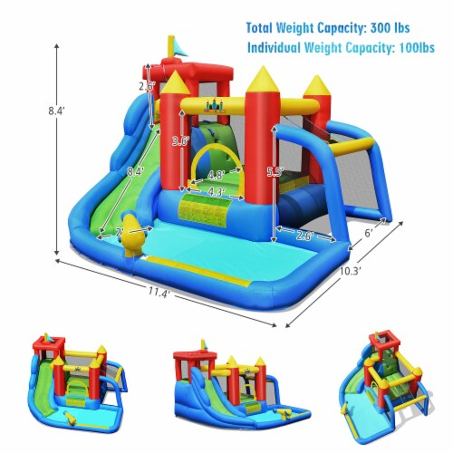 Costway Inflatable Bouncer Water Slide Bounce House Splash Pool without Blower Perspective: back