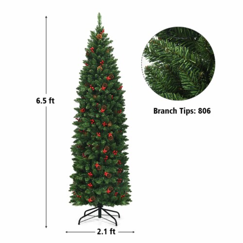 Costway 6.5Ft Pre-lit Hinged Pencil Christmas Tree w/Pine Cones Red Berries & 250 Lights Perspective: back