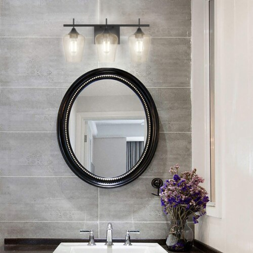 Costway 3-Light Wall Sconce Modern Bathroom Vanity Light Fixtures with Clear Glass Shade Perspective: back