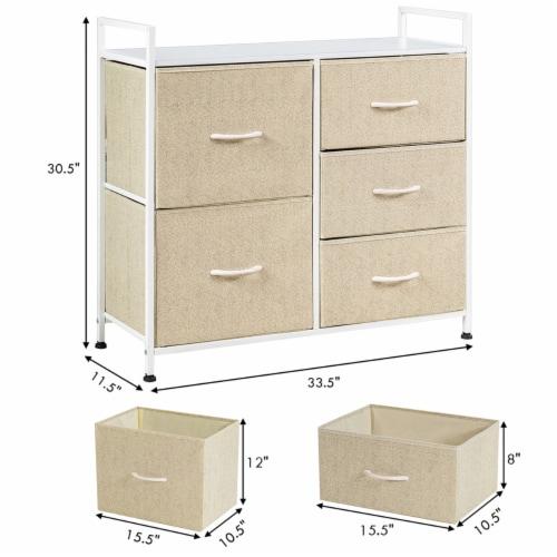 Costway 5 Drawers Dresser Storage Unit Side Table Display Organizer Dorm Room Beige Perspective: back